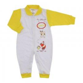 Imagem - Macacão em Malha para Menino Lapuko - 10118-macacão-menino-branco-amarelo