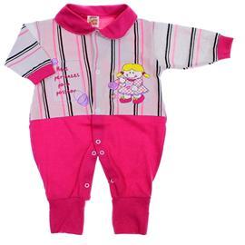 Imagem - Macacão de Bebe - Longo - Pé Reversível 6045 - 6045 - Listras Pink
