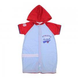 Imagem - Macacão Curto de Bebê Com Capuz Baby Gijo 6123 - 6123-Azul
