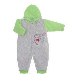 Imagem - Macacão para Bebê de Plush Estampado Lapuko - 10051-mac-plush-menina-mescla-verde