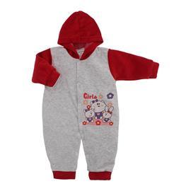 Imagem - Macacão para Bebê de Plush Estampado Lapuko - 10051-mac-plush-menina-mescla-verme