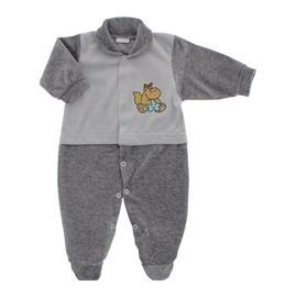 Imagem - Macacão para Bebê de Plush Estampado Lapuko Menino - 10056-mac-plush-cinza-mescla-menino