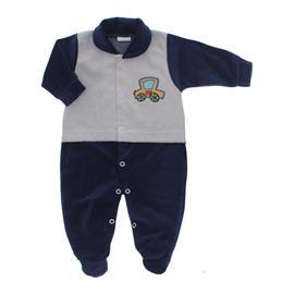 Imagem - Macacão para Bebê de Plush Estampado Lapuko Menino - 10056-mac-plush-marinho-menino