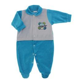 Imagem - Macacão para Bebê de Plush Estampado Lapuko Menino - 10056-mac-plush-turquesa-menino