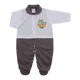 Imagem - Macacão para Bebê Lapuko - 10073-macacao-lapuko-branco-marrom-