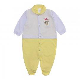 Imagem - Macacão para Bebê Lapuko - 10073-macacão-menina-bco-amarelo-be