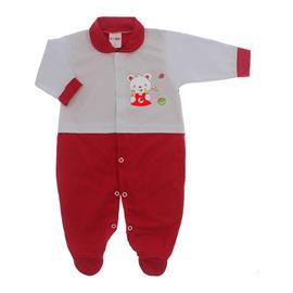 Imagem - Macacão para Bebê Lapuko - 10073-mac-lapuko-mno-bco-vermelho