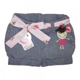 Imagem - Shorts Jeans Claro Menina Laço Rosa  - 5017 - menina vestido