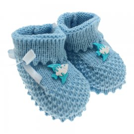 Imagem - Pantufa de Bebe Botinha para Menino - 3311-pantufa-botinha-azul