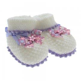 Imagem - Pantufa de Bebê Botinha de Lã  - 3305-pantufa-botinha-branco-lilas