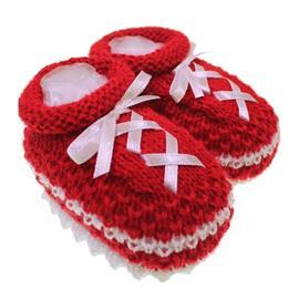 Imagem - Pantufa de Bebê Sapatinho de Lã - 3681-pantufa-cadarço-vermelho
