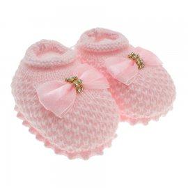 Imagem - Pantufa de Bebê Sapatinho de Lã - 3681-pantufa-sapatinho-laço-rosa