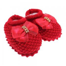 Imagem - Pantufa de Bebê Sapatinho de Lã - 3681-pantufa-sapatinho-laço-vermelh