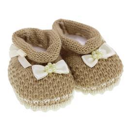 Imagem - Pantufa de Lã para Bebê  - 7541-pantufa-laço-bege-menina