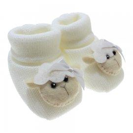 Imagem - Pantufa de Lã para Bebê  - 3677-pantufa-menina-ovelha-branca