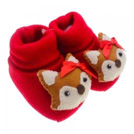 Imagem - Pantufa de Lã para Bebê  - 3677-pantufa-menina-raposinha-verme