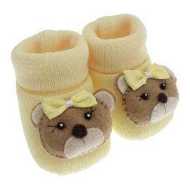 Imagem - Pantufa de Lã para Bebê  - 3677-pantufa-amarelo-ursinha