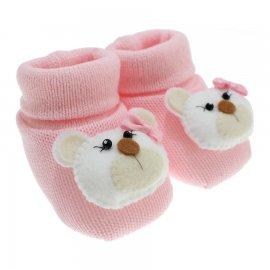 Imagem - Pantufa de Lã para Bebê  - 3677-pantufa-rosa-bb-ursinha