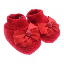 Imagem - Pantufa Para Bebê em Tricô Artesanal - 7541-pantufa-bebe-laço-vermelho
