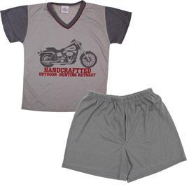 Imagem - Pijama Infantil de Verão Moto - 5856-cinza