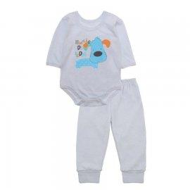 Imagem - Pijama para Bebê Body e Calça em Meia Malha Lapuko - 10188-conj.body-calça-amigão-branco