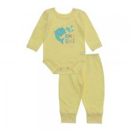 Imagem - Pijama para Bebê Body e Calça Lapuko - 10188-conj-body-calça-amo-vc