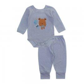 Imagem - Pijama para Bebê Body e Calça em Meia Malha Lapuko - 10188-pijama-body-calça-cartola-cin