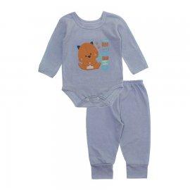 Imagem - Pijama para Bebê Body e Calça em Meia Malha Lapuko - 10188-conj-body-cal-ça-cheguei-cinz