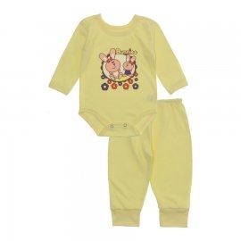 Imagem - Pijama para Bebê Body e Calça Lapuko - 10189-pijama-menina-coelhas-amarelo