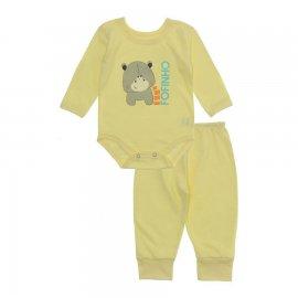 Imagem - Pijama para Bebê Body e Calça em Meia Malha Lapuko - 10188-conj-body-calça-fofinho-amare
