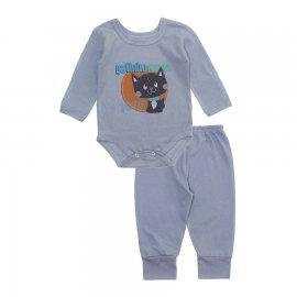 Imagem - Pijama para Bebê Body e Calça Lapuko - 10188-conj.body-calça-gato-cinza