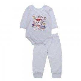 Imagem - Pijama para Bebê Body e Calça Lapuko - 10189-pijama-menina-kitty-branco