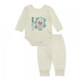 Imagem - Pijama para Bebê Body e Calça Lapuko - 10188-conj-body-calca-pato-cru