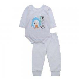 Imagem - Pijama para Bebê Body e Calça Lapuko - 10188-bonj-body-calça-pinguim-branc
