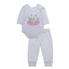 Imagem - Pijama para Bebê Body e Calça Lapuko - 10189-pijama-menina-urso-nuvem