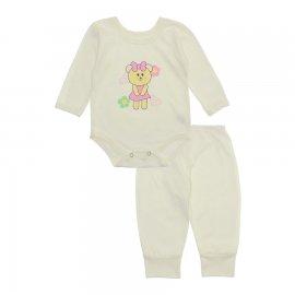 Imagem - Pijama para Bebê Body e Calça Lapuko - 10189-pijama-menina-ursinha-creme