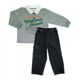 Imagem - Roupa de Criança - Conjunto Blusa de Moleton e Calça de Sarja 5650 - 5650 - Cinza