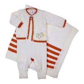Imagem - Saída de Maternidade Artesanal em Linha Bebê Menino Avião 6299 - 6299 Avião/Laranja