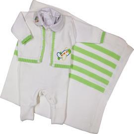 Saída de Maternidade Artesanal em Linha Bebê Menino Avião 6299