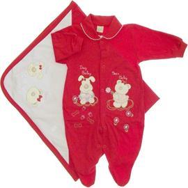 Imagem - Saida de Maternidade Menina em Malha Bordada - 5480 - saida-maternidade-vermelha-a