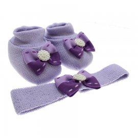 Imagem - Sapatinho de Lã e faixa para Bebê Menina  - 9049-pantufa-faixa-lilas