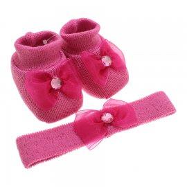 Sapatinho de Lã e faixa para Bebê Menina