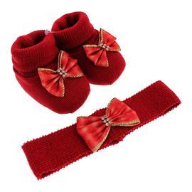 Imagem - Sapatinho de Lã e faixa para Bebê Menina  - 9049-pantufa-tiara-vermelho