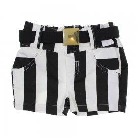 Imagem - Shorts Infantil de Menina com Cinto Listrado - 6348 - 6348