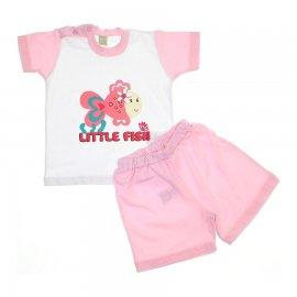 Imagem - Conjunto de Bebê Shorts e Camiseta Fish - 5936 - Rosa
