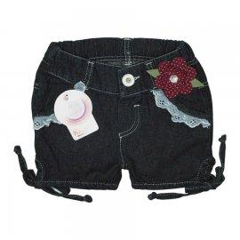 Imagem - Shorts Infantil Jeans Flor - 4826 -flor vinho
