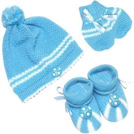 Touca de Bebê Luva e Pantufa de Lã Kit Futebol 7535