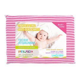 Imagem - Travesseiro Anti-sufocante Atoalhado Lapuko - 9999-trav-atoalhado-listrado-pink
