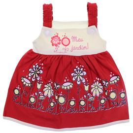 Imagem - Vestido de Bebê Palminha 6194 - 6194-Vermelho/Jardim