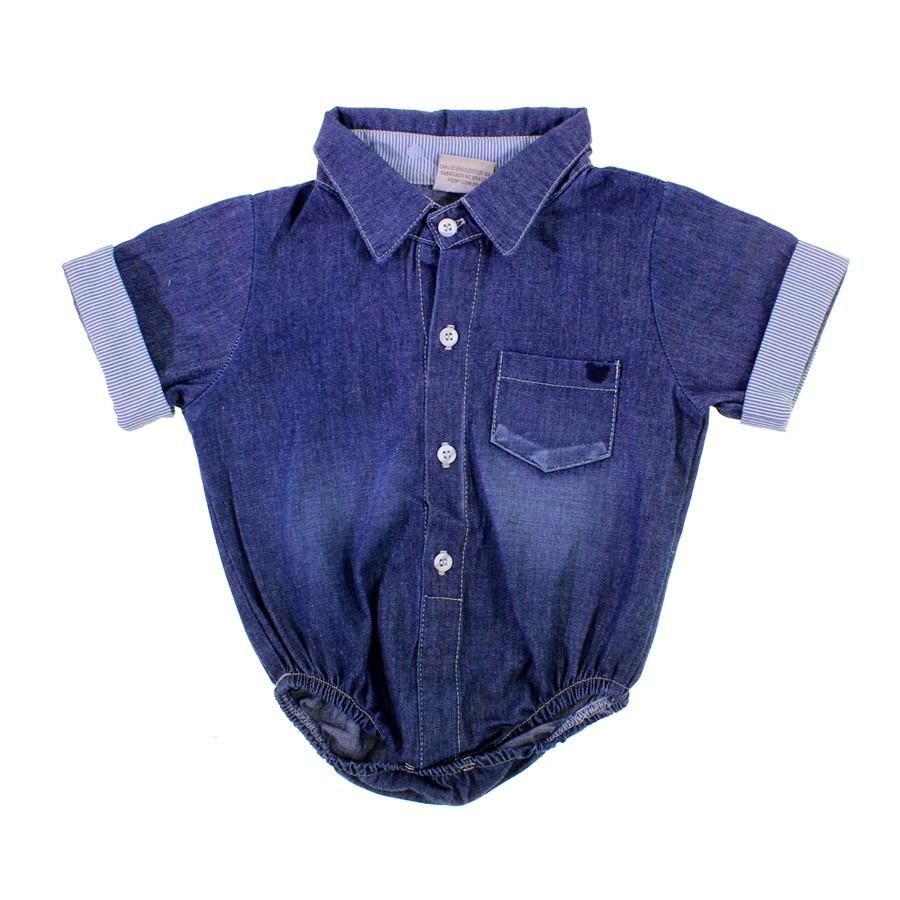 a9e30828b Body Camisa Jeans para Bebê 8584